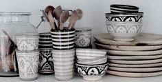 moroccan pottery in neutral colours