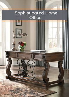 Rustic details meet classic style in this stately desk that fits perfectly into any home office. Its curvaceous shape and ample work space give you a beautiful place to sit and accomplish all of your most important tasks.