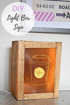 Add humour to your decor with an upcycled wine box & IKEA Led lights into a customizable DIY light box sign. #lightboxsign #diylightbox #lightbox #coffeesign #winebox
