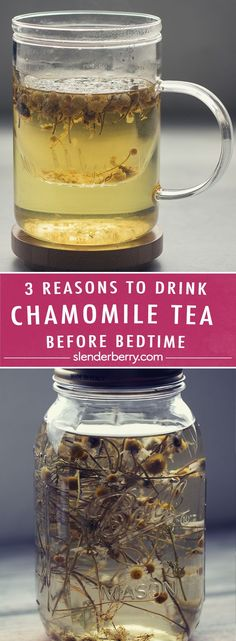 3 Reasons to Drink Chamomile Tea Before Bedtime - Slenderberry Chamomile Tea Benefits, Green Tea Benefits, Best Teas For Health, Tea For Bloating, Teas For Headaches, Tea Before Bed, Best Matcha Tea, Shake Recipes, Detox Recipes