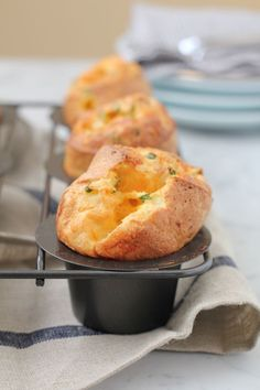 This sharp cheddar cheese and chive popover recipe is absolutely a-ma-zing . . . This is as close to FOOL-PROOF as popovers can be! YUM!