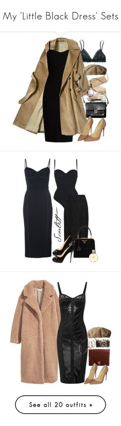 """""""My 'Little Black Dress' Sets"""" by vanessajeanette ❤ liked on Polyvore featuring Madewell, MaxMara, Fogal, Bella Freud, Lauren Ralph Lauren, Monki, Christian Louboutin, Wolford, T By Alexander Wang and Diane Von Furstenberg"""