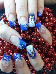 Eye Candy Nails & Training - Nail art over acrylic nails by Elaine Moore on 29 November 2013 at Xmas Nail Designs, French Nail Designs, Nail Art Designs, Love Nails, How To Do Nails, Fun Nails, Pretty Nails, Seasonal Nails, Holiday Nails