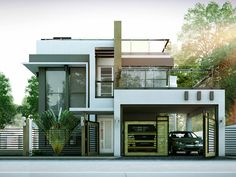 Modern house design pictures image of modern contemporary house designs floor plans modern home office design images 2 Story House Design, Modern Small House Design, Duplex House Design, Small Modern Home, Modern House Plans, Small House Plans, Cool House Designs, Modern Contemporary, Modern Houses