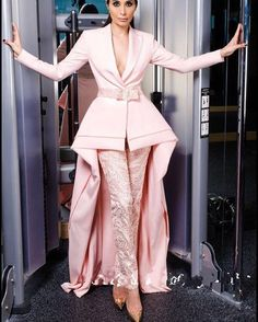 Elegant Pink Prom Dresses With Pants High Low Lace Evening Gowns Illusion Custom Made Charming Formal Suit Evening Wear - Lace Evening Gowns, Evening Dresses With Sleeves, Evening Party Gowns, Designer Evening Dresses, Ball Gowns Prom, Suit Fashion, Look Fashion, Fashion Dresses, Fashion Black