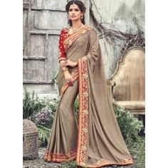 Beige and Red Net and Raw Silk Embroidered Saree