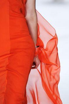 DVF   Yakira Dress In Blood Orange on the runway, Spring 2013