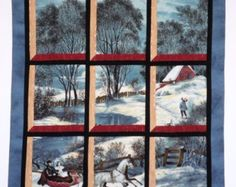 Fabric Wall Hanging - Attic Window of Currier and Ives Winter Sleigh Ride Small Quilts, Easy Quilts, Mini Quilts, Fabric Panel Quilts, Attic Window Quilts, Rose Arbor, Dear Jane Quilt, Stained Glass Quilt, Quilting Projects