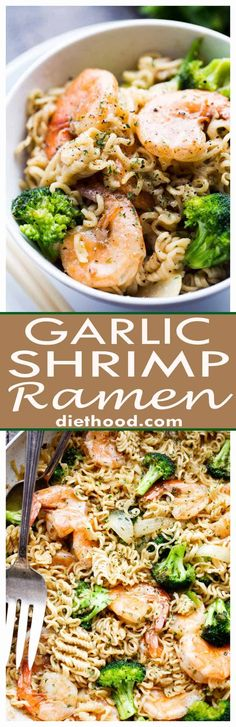 Garlic Shrimp Ramen - Turn those instant ramen noodles into a delicious dinner by adding flavorful garlic shrimp and broccoli to the mix! To make LBA friendly use brown rice ramen Shrimp Recipes Easy, Fish Recipes, Seafood Recipes, Asian Recipes, Cooking Recipes, Healthy Recipes, Recipies, Shrimp Dinner Recipes, Instant Pot Chinese Recipes