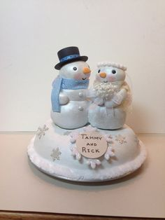 Snowman Wedding Cake Topper  Made to order  Winter by WorkofWhimsy