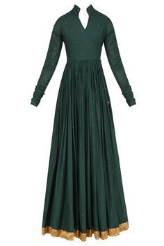 natasha j dark green angrakha style floor length anarkali kurta in cotton mul base with printed parrot motifs all over and knotted tie up detailing with tassel hangings on the side. It has red floral embroidered motifs and gold border around the hem