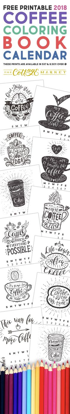 Free Printable 2018 Coffee Coloring Book Calendar