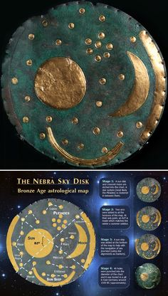 The Nebra sky disc, an astronomical map from the northern European Bronze Age, c. 1600 BCE or possibly older.