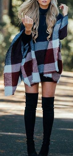 Tartan Plaid Cape // Striped Black Dress // Black Over The Knee Boots                                                                             Source