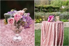 Mauve Pink Sequin Tablecloth we do custom by CandyCrushEvents, $45.00