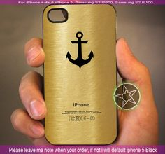 Anchor Logo in Gold New Design iPhone 4/4S/5, Samsung S4/S3/S2 case cover | sedoyoseneng - Accessories on ArtFire