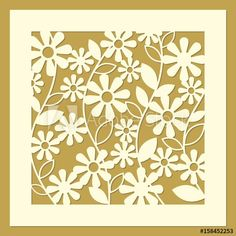Daisy flower ornament. Laser cut template pattern for decorative screen, panel. Modern design for wedding favor box, gift box, stencil, paper, wood, metal cutting. Vector illustration.
