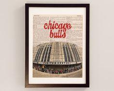 Chicago Bulls Dictionary Art Print - United Center - Print on Vintage Dictionary Paper - Basketball Art, Chicago Print, Illinois