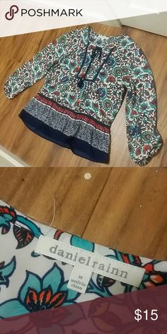 Adorable Daniel Rainn top Boho style top by Daniel Rainn. Excellent condition, no flaws. Tie front and flowy sleeves with elastic at the wrist. 100% polyester. Purchased at Nordstrom. Daniel Rainn Tops