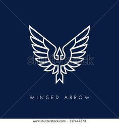Arrow with wings. Template for logo, label, emblem, sign, stamp. Vector illustration.