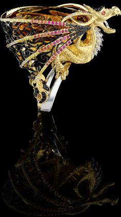 Ring 9348 Collection: Mysticism  18K  yellow and white gold, citrine 74,33 ct, diamonds, black diamonds, yellow diamonds, rubies, orange sapphires, enamel.