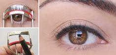 Pour gagner du temps en appliquant votre maquillage, faites deux étapes en une! Appliquez le crayon à yeux sur la partie supérieure du recourbe-cils avant d'utiliser celui-ci!