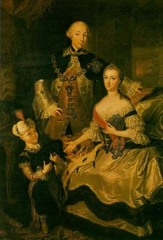 1760 Empress Catherine, the Great with her husband Peter III of Russia and their son, future Tsar Paul I of Russia by ? (location unknown to gogm) colors