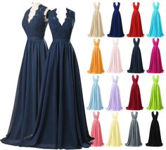 New Formal V Neck Evening Prom Long Chiffon Wedding Beach Party Bridesmaid Dress