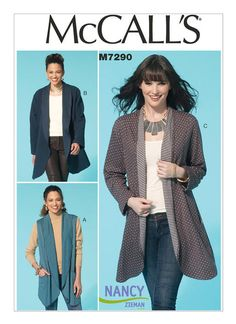 Television host, Nancy Zieman, walks you through the easy sewing steps of her new jacket pattern releasing with McCall's Pattern Company, Sew with knits easily. Mccalls Sewing Patterns, Vogue Patterns, Sewing With Nancy, Sewing Hacks, Sewing Projects, Sewing Ideas, Sewing Tips, Sewing Crafts, Nancy Zieman