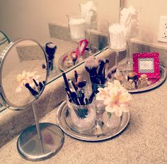 makeup vanity with dollar store items