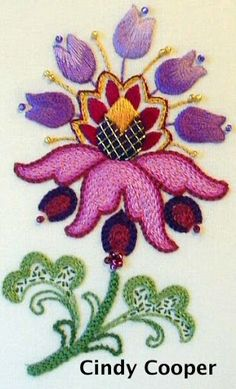 flower-Nice work Cindy, modern palette with traditional design. We need to make it real and relevant if it is to survive Tambour Embroidery, Crewel Embroidery Kits, Embroidery Applique, Cross Stitch Embroidery, Embroidery Patterns, Machine Embroidery, Butterfly Cross Stitch, Brazilian Embroidery, Applique Quilts