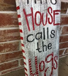 Items similar to Arkansas Razorbacks... This HouSe calls the HoGs... reclaimed wood original painting on Etsy