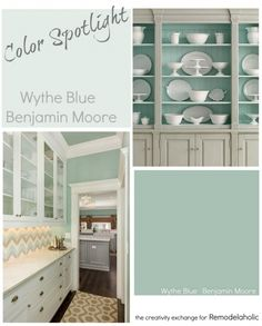 Color Spotlight: Wythe Blue from Benjamin Moore (Remodelaholic) Blue Green Paints, Blue Gray Paint, Green Paint Colors, Room Paint Colors, Paint Colors For Home, Wall Colors, House Colors, Neutral Paint, Interior Color Schemes