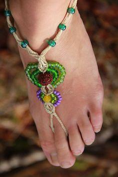 Barefoot Sandals Summer Festival Gypsy Beaded fairy tribal macrame anklet