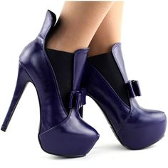 Lady Red/Blue Bow Two Tone Stiletto Heel Platform Ankle Boots Sz in Clothing, Shoes, Accessories, Women's Shoes, Boots Blue Bow, Red And Blue, Closed Toe Shoes, How To Stretch Boots, Platform Ankle Boots, Stiletto Heels, Purple, Lady, Passion
