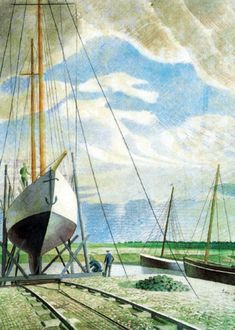 "June 1938 ~ ""Boatyard"" by Eric Ravilious, aka Eric William Ravilious English Painter, Designer, Book Illustrator & Wood Engraver . Composition Art, Mc Escher, Encaustic Painting, Naive Art, Block Prints, Lino Prints, Landscape Paintings, Landscapes, Beautiful Paintings"