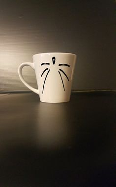 cat whisker coffee mug  funny coffee mug by BlackCatPrints on Etsy