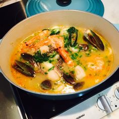 Inspired by Rachel Koo's bouillabaisse, I had my version of Provençal fish stew twisted from whatever ingredients I have on hand. The original fish stock I made earlier, are more flavourful after onion, garlic, fennel seeds, bay leave, star anise, thyme, tomatoes and white wine are added.