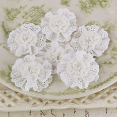 Manette White small fabric flowers with pearl center by Hennytj, $4.89