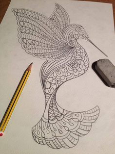 https://flic.kr/p/nArf5A | Pencil Drawing - Hummingbird | Created by Charlotte Trimm of By Charlie's Hand. Blogged: www.allthingspaper.net/2014/05/cut-paper-by-charlies-hand...