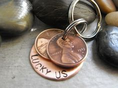 For a keepsake that you will remember get two pennies one with the year you met, and one with the year you were married. Attach to a key ring with a little disc it could be copper, anything you can pick up at a local craft store. They can either come as is or you can engrave whatever you want on the disc. These make great favors as well.