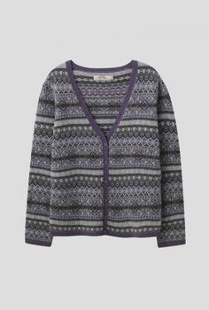 Penveor Cardigan | Beautifully soft cardy in colourful Fair Isle stripes. With long sleeves, flattering v-neck, button up front and contrast rib hems. Mix and match with cord and denim.