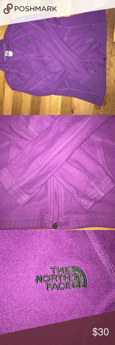 NORTHFACE ZIP UP Purple north face zip up. Worn but in great condition. No stains. The North Face Sweaters