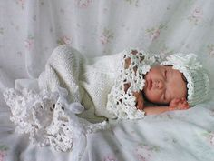 Snow Baby Cocoon / Snuggle Sack and Hat Newborn in Winter White Cotton Photo Prop. $60.00, via Etsy.