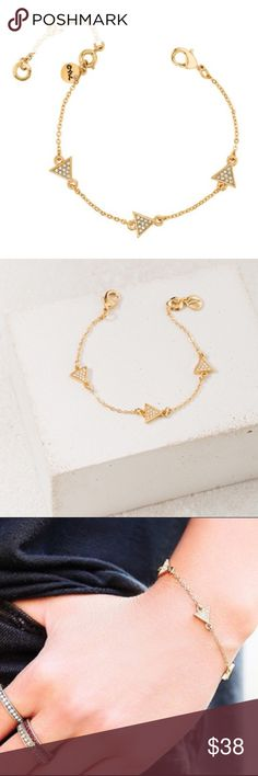 "Pavé Triangle Station Bracelet by Chloe + Isabel Chloe + Isabel's 12k Gold-Plated Pavé Triangle Station Bracelet w/Sparkling Pavé Triangles. Wear it Alone OR Layered.                                                  To see Other Bracelets shown Go To: www.chloeandisabel.com/boutique/lyndahaag    🔹Original List Price $38🔹                                                                        • Shiny 12k Gold-Plated/Nickel-Free • 6.5"" approx. length (+ Extender) • Clear Crystal Pavé Chloe…"