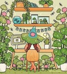 Plant Witch, an art print by fresh_bobatae Arte Do Kawaii, Kawaii Art, Cute Art Styles, Cartoon Art Styles, Aesthetic Art, Aesthetic Anime, Aesthetic Painting, Aesthetic Videos, Arte Copic