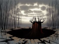 Production Backgrounds for the television series Samurai Jack (2001). Artwork by Scott Wills.