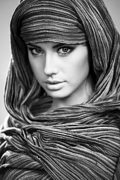 Woman of the desert | scarf, black and white photograph by Aleksandr Palatovskiy