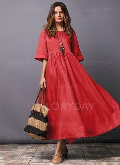Stripe Sleeves Maxi Shift Dress – Floryday – Linen Dresses For Women Linen Dresses, Cotton Dresses, Casual Dresses, Floryday Dresses, Shift Dresses, Dresses Online, Fashion 2020, Look Fashion, Fashion Online