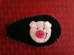 This is an eye patch my daughter made for my grand daughter's glasses.  She loves piggies!